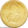 Mexico: , Mexico: Felipe V gold 8 Escudos 1734Mo-MF, KM148, AU58 NGC, asuperb example of this handsome type with sharp details and light,old...