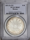 Mexico: , Mexico: Republic 8 Reales 1892Zs-FZ, KM377.13, MS65 PCGS,incredibly flashy surfaces with perfect gold and brown toning - nota rare...