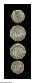 Mexico: , Mexico: Nineteenth Century Silver Selection, 1/2 Real 1858Zs-MO,softly struck AU, Real 1859Zs-MO, two examples, both choiceAU-UNC,... (Total: 4 coins Item)