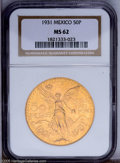 Mexico: , Mexico: Republic gold 50 Pesos 1931, KM481, MS62 NGC....