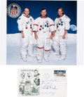 Autographs:Celebrities, Apollo 16 Crew-Signed Moon Landing Cover with Color Photo. ...(Total: 2 Items)