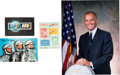 Autographs:Celebrities, John Glenn Signed Philatelic Items (Three) with Color Photo. ... (Total: 4 Items)