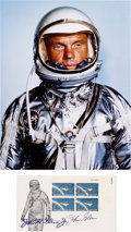 """Autographs:Celebrities, John Glenn Signed """"Project Mercury"""" Plate Block First Day Coverwith Color Photo.... (Total: 2 Items)"""