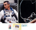 Autographs:Celebrities, Gene Cernan Signed Gemini 9 Stamps (Three) with Color Photo. ...(Total: 5 )