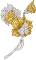 Estate Jewelry:Brooches - Pins, Diamond, Colored Diamond, Gold Brooch, Alopa. ...