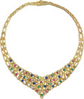 Estate Jewelry:Necklaces, Multi-Stone, Diamond, Gold Necklace, Carl Bucherer. ...