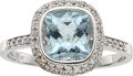 Estate Jewelry:Rings, Aquamarine, Diamond, White Gold Ring, Lauren K. ...