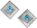 Estate Jewelry:Earrings, Blue Topaz, Diamond, Mother-of-Pearl, White Gold Earrings, GalleriaLegnazzi. ... (Total: 2 Items)