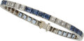 Estate Jewelry:Bracelets, Diamond, Sapphire, Platinum Bracelet. ...