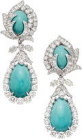 Estate Jewelry:Earrings, Turquoise, Diamond, Platinum Earrings, David Webb. ... (Total: 2 Items)