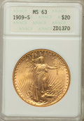 1909-S $20 MS63 ANACS. NGC Census: (1750/1579). PCGS Population: (1992/2297). CDN: $1,240 Whsle. Bid for problem-free NG...