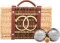 "Luxury Accessories:Home, Chanel Limited Edition Wicker Petanque Bocce Ball Set. PristineCondition. 11.5"" Width x 3.5"" Height x 7.5"" Depth. ..."
