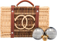 "Chanel Limited Edition Wicker Petanque Bocce Ball Set Pristine Condition 11.5"" Width x 3.5"" Heigh"