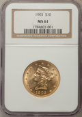 Liberty Eagles, 1903 $10 MS61 NGC. NGC Census: (387/512). PCGS Population: (187/507). Mintage 125,800.. From The Martin Peterson Colle...