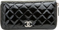 "Luxury Accessories:Accessories, Chanel Black Quilted Patent Leather Zip Wallet. Good Condition.7.5"" Width x 4"" Height x 0.5"" Depth. ..."