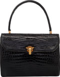 "Luxury Accessories:Bags, Gucci Shiny Black Crocodile Top Handle Bag. Good Condition. 8.5""Width x 6.5"" Height x 2.5"" Depth. ..."