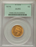 Three Dollar Gold Pieces, 1874 $3 AU55 PCGS. PCGS Population: (520/1237). NGC Census: (607/1749). Mintage 41,800.. From The Martin Peterson Coll...