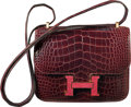 Luxury Accessories:Bags, Hermes Limited Edition 18cm Shiny Bordeaux Alligator & Rouge HLizard Marquette Constance Bag with Gold Hardware. T,2015...