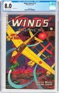 Golden Age (1938-1955):War, Wings Comics #116 (Fiction House, 1952) CGC VF 8.0 Cream tooff-white pages....
