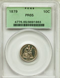 Proof Seated Dimes, 1879 10C PR65 PCGS. PCGS Population: (36/30). NGC Census: (46/38). CDN: $900 Whsle. Bid for problem-free NGC/PCGS PR65. Min...