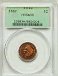 Proof Indian Cents, 1867 1C PR64 Red and Brown PCGS. PCGS Population: (98/55). NGC Census: (61/48). CDN: $600 Whsle. Bid for problem-free NGC/P...