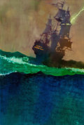 Mainstream Illustration, Bernard Fuchs (American, 1932-2009). The Dark Frigate, paperbackcover, 1996. Oil on canvas. 28 x 19 in.. Initialed lowe...(Total: 2 Items)