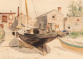 Works on Paper, Childe Hassam (American, 1859-1935). Fishhouses Swampscott, 1882. Watercolor on paper. 9-7/8 x 13-7/8 inches (25.1 x 35....