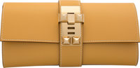Hermes 23cm Curry Chamonix Leather Medor Clutch Bag with Gold Hardware T, 2015 Pristine Condition