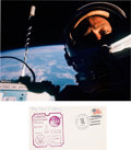 "Explorers:Space Exploration, Buzz Aldrin Signed Gemini 12 Recovery Cover with ""First Selfie""Color Photo.... (Total: 2 Items)"