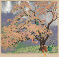Gustave Baumann (German/American, 1881-1971) Spring Blossoms, 1950 Woodcut in colors with aluminum l