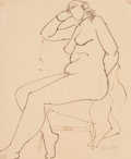 Fine Art - Work on Paper:Drawing, Milton Avery (American, 1885-1965). Nude Seated. Ink onpaper . 16-3/4 x 13-3/4 inches (42.5 x 34.9 cm) (sheet). Signed ...