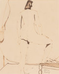 Works on Paper, Milton Avery (American, 1885-1965). Standing Nude. Ink on paper. 16-3/4 x 13-3/4 inches (42.5 x 34.9 cm) (sheet). Signed...