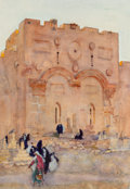 Paintings, Dean Cornwell (American, 1892-1960). Golden Gate, Jerusalem. Watercolor and pencil on paper. 12.75 x 9.25 in. (sight). I...