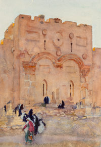 Dean Cornwell (American, 1892-1960) Golden Gate, Jerusalem Watercolor and pencil on paper 12.75 x