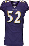 Football Collectibles:Uniforms, 2009 Ray Lewis Game Worn Baltimore Ravens Jersey - Used 11/1 vs. Broncos....
