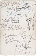 Boxing Collectibles:Memorabilia, 1960 Rome Olympics Postcard Signed by Cassius Clay (Muhammad Ali) & Jesse Owens....