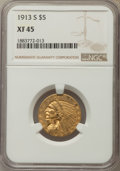 Indian Half Eagles: , 1913-S $5 XF45 NGC. NGC Census: (92/1773). PCGS Population:(127/980). Mintage 408,000. ...