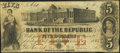 Obsoletes By State:Rhode Island, Providence, RI- Bank of the Republic $5 Aug. 17, 1855. ...