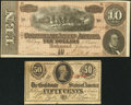 Confederate Notes:Group Lots, T63 50¢ 1863 PF-4 Cr. 485;. T68 $10 1864 PF-42 Cr. 551.. ...(Total: 2 notes)