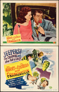 "Movie Posters:Horror, Abbott and Costello Meet Frankenstein (Universal International,1948). Title Lobby Card & Lobby Card (11"" X 14"").. ... (Total:2 Items)"