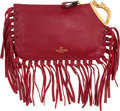 "Luxury Accessories:Bags, Valentino Red Leather Libra Fringe Clutch Bag. ExcellentCondition. 9"" Width x 5.5"" Height x 0.5"" Depth. ..."