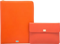 """Dolce & Gabbana Set of Two; Orange Leather Document and Tablet Cases Pristine Condition 10.5"""" Wid"""