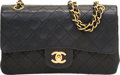 """Luxury Accessories:Bags, Chanel Black Quilted Lambskin Leather Double Flap Bag. Very Good Condition. 9"""" Width x 5.5"""" Height x 2.5"""" Depth. ..."""