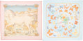 """Luxury Accessories:Accessories, Hermes Set of Two; 140cm Pink & Blue Silk Mousseline Scarves.Excellent Condition. 55"""" Width x 55"""" Length. 55"""" Width x 55""""...(Total: 2 Items)"""