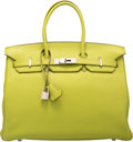 """Luxury Accessories:Bags, Hermes 35cm Vert Anis Togo Leather Birkin Bag with Palladium Hardware. J Square, 2006. Excellent Condition. 14"""" Wi..."""