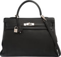 Luxury Accessories:Bags, Hermes 35cm Black Clemence Leather Retourne Kelly Bag withPalladium Hardware. G Square, 2003. Very GoodCondition. ...