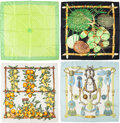 """Luxury Accessories:Accessories, Hermes Set of Four; 90cm Green & White Silk Scarves. Excellent Condition. 36"""" Width x 36"""" Length. 36"""" Width x 36"""" Length. ... (Total: 4 Items)"""