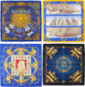 "Luxury Accessories:Accessories, Hermes Set of Four; 90cm Blue & Black Silk Scarves. Excellent Condition. 36"" Width x 36"" Length. 36"" Width x 36"" Length. 3... (Total: 4 Items)"