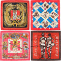 "Luxury Accessories:Accessories, Hermes Set of Four; 90cm Red & Pink Silk Scarves. ExcellentCondition. 36"" Width x 36"" Length. 36"" Width x 36"" Length. 36""...(Total: 4 Items)"