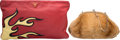 "Luxury Accessories:Bags, Prada Set of Two; Red Lambskin Leather & Brown Weasel Clutch and Evening Bag. Excellent Condition. 13"" Width x 8"" Height x... (Total: 2 Items)"